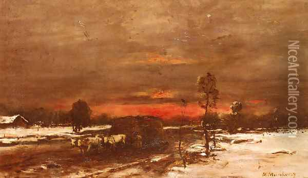A Winter Landscape at Sunset Oil Painting - Mihaly Munkacsy