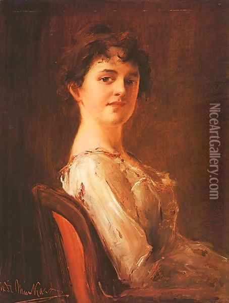 Portrait of a Woman (Noi arckep) 1885 Oil Painting - Mihaly Munkacsy