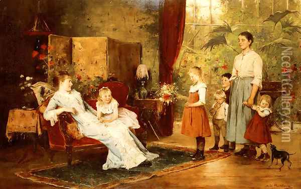 The Fete Of The Lady Of The Manor Oil Painting - Mihaly Munkacsy