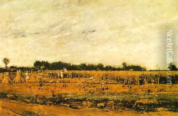 Corn Field 1874 Oil Painting - Mihaly Munkacsy