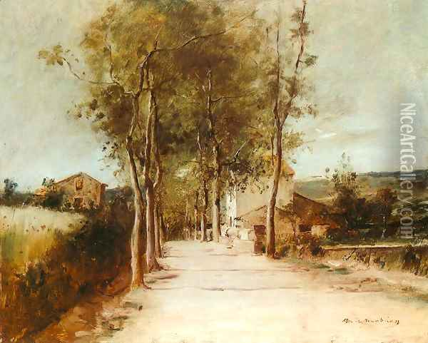 Avenue with One Story House 1882 Oil Painting - Mihaly Munkacsy