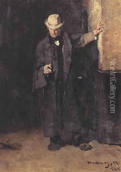 Study to the Pawn Office 1873 74 Oil Painting - Mihaly Munkacsy