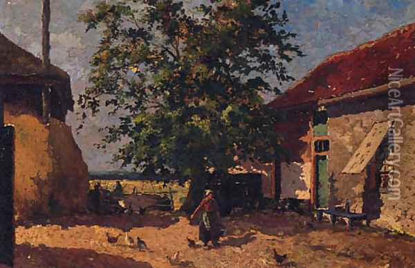 Feeding The Chickens In A Farmyard Oil Painting - Mihaly Munkacsy