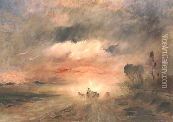 Dusty Country Road II 1883 Oil Painting - Mihaly Munkacsy