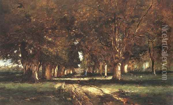 Line of Trees 1886 Oil Painting - Mihaly Munkacsy