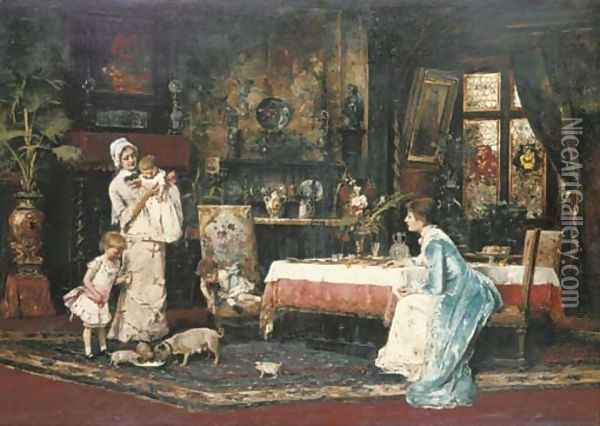 The Two Families Oil Painting - Mihaly Munkacsy