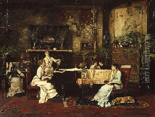 The Music Room 1878 Oil Painting - Mihaly Munkacsy