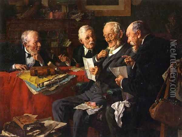 Reading the Will Oil Painting - Louis Charles Moeller