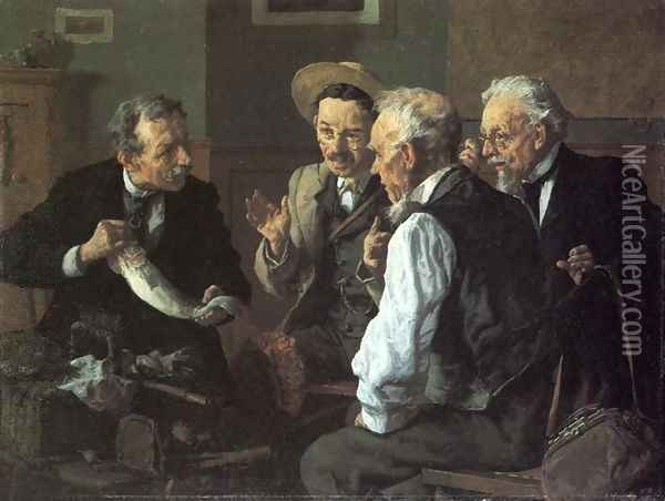 Discussing the Catch Oil Painting - Louis Charles Moeller