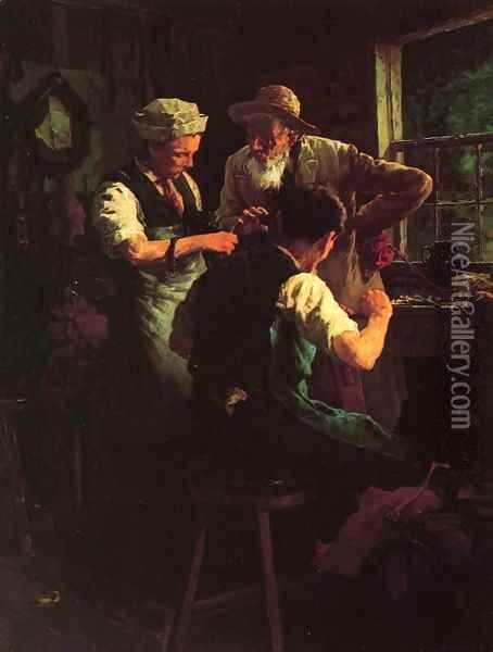 At the Blacksmith's Oil Painting - Louis Charles Moeller