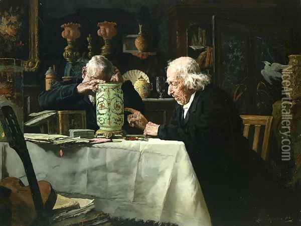 The Connoisseurs I Oil Painting - Louis Charles Moeller