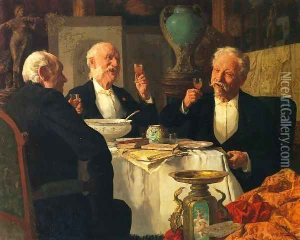 The Toast I Oil Painting - Louis Charles Moeller