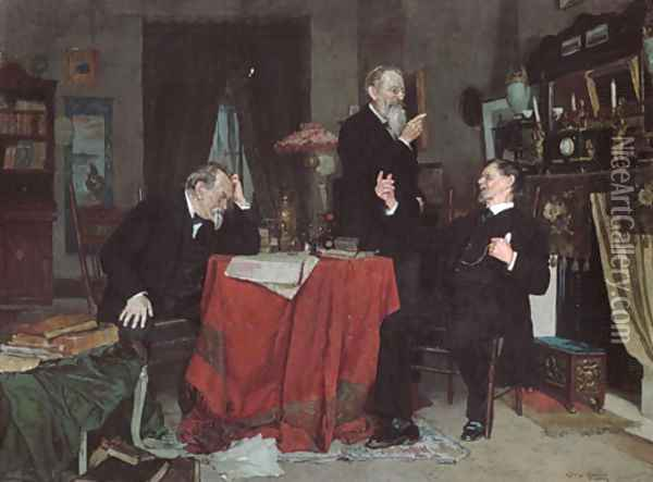 A Discussion Oil Painting - Louis Charles Moeller