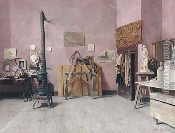 Sculptor's Studio Probably the 1880s Oil Painting - Louis Charles Moeller