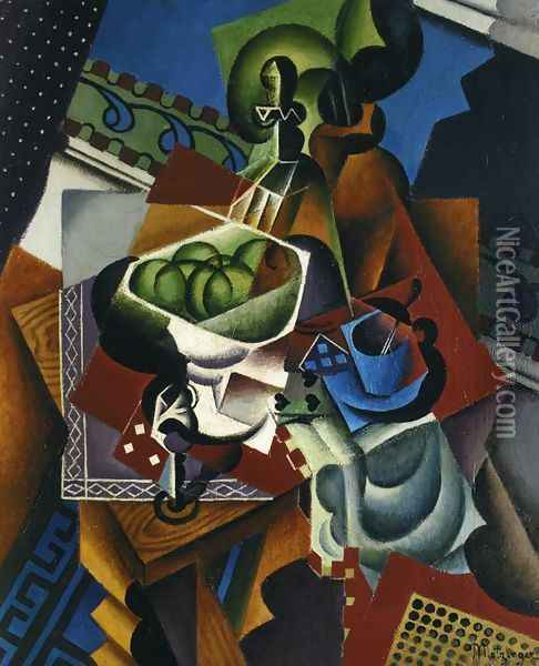 Still Life: Playing Cards, Coffee Cup and Apples Oil Painting - Jean Metzinger