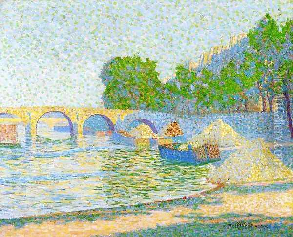 Barges on the Banks of the Seine Oil Painting - Jean Metzinger