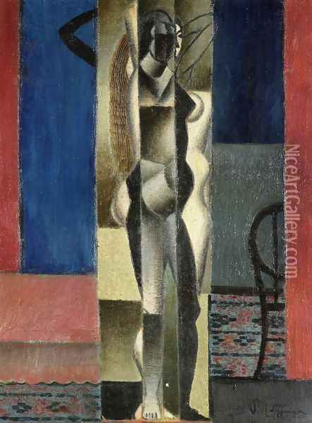 Nude in front of a Mirror Oil Painting - Jean Metzinger