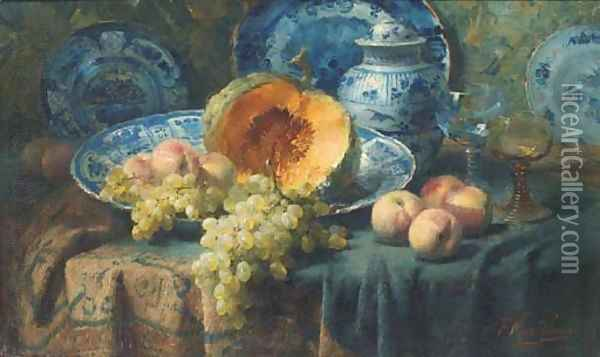 A pumpkin, peaches, and grapes in a china bowl by glasses on a draped table Oil Painting - Frans Mortelmans
