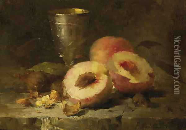 A still life with peaches Oil Painting - Frans Mortelmans