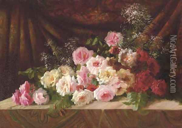 Roses and Baby's Breath on a Cloth-draped Ledge Oil Painting - Frans Mortelmans