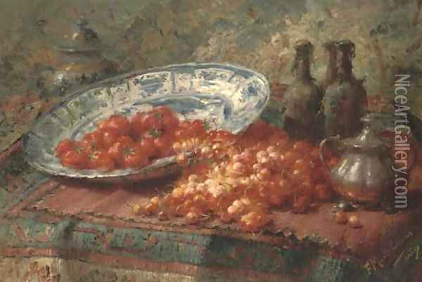 Stawberries in a delft bowl with cherries on a table Oil Painting - Frans Mortelmans