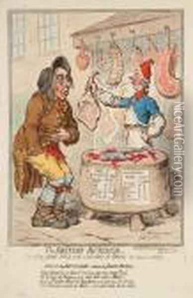 The British-butcher, / Supplying John-bull With A Substitute For Bread Oil Painting - James Gillray