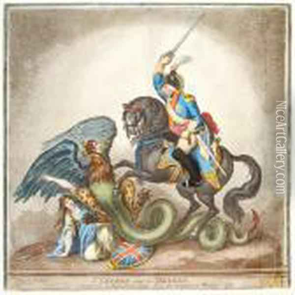 St.george And The Dragon Oil Painting - James Gillray