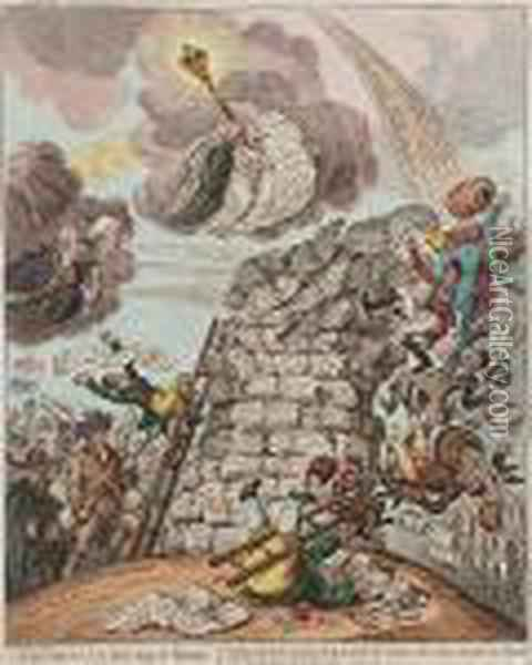 Overthrow Of The Republican Babel Oil Painting - James Gillray