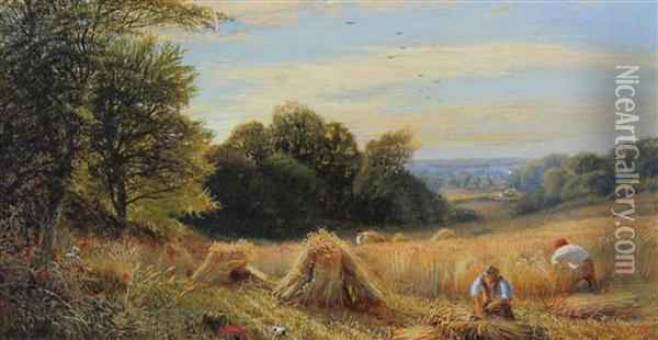 Harvesters At Work And Reed Gatherer In A Punt Oil Painting - Alfred Augustus Glendening