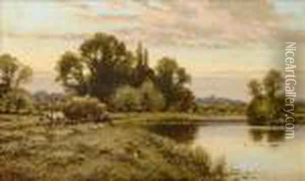 Carting Hay By The Thames Oil Painting - Alfred Augustus Glendening