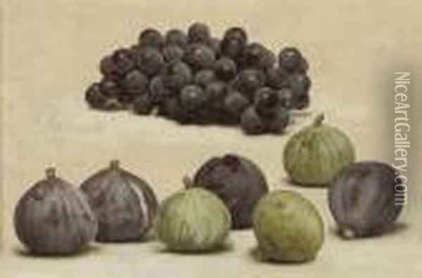 Still Life Of Grapes And Figs Oil Painting - John William Godward