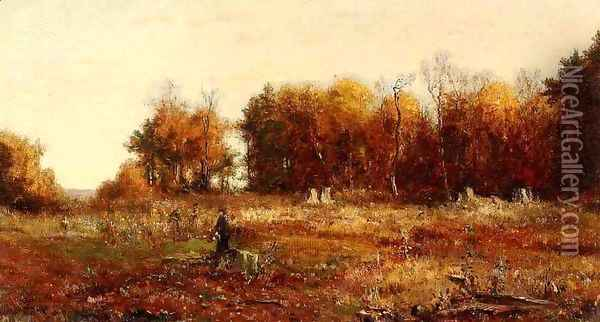 Gathering Autumn Leaves Oil Painting - Jervis McEntee