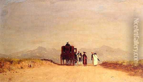 A Journey's Pause in the Roman Campagna Oil Painting - Jervis McEntee