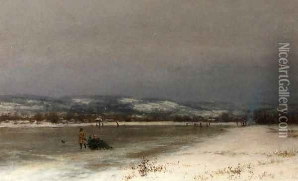 Gathering Christmas Fiinery at Roundout, New Jersey Oil Painting - Jervis McEntee