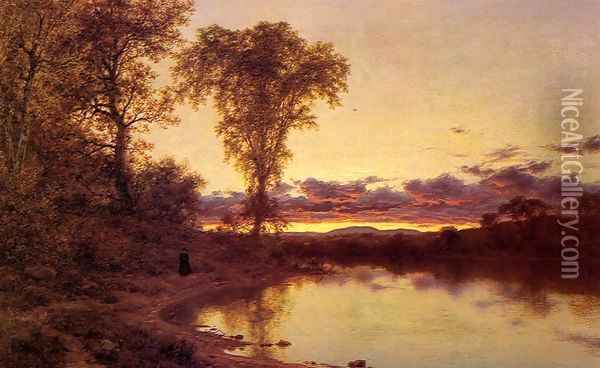 Twilight, a Stroll by the Shore Oil Painting - Jervis McEntee