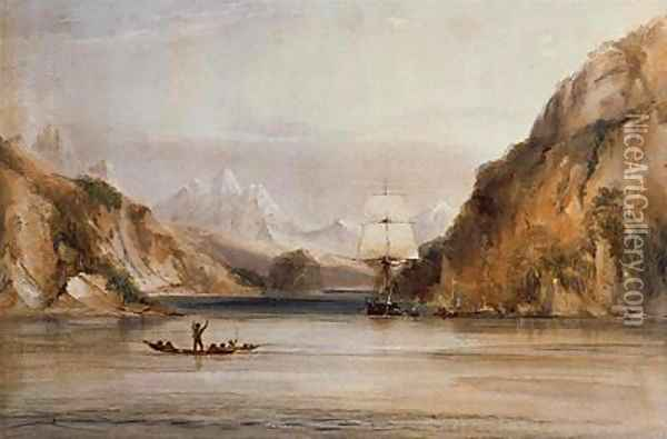 HMS Beagle in the Murray Narrows Beagle Channel Oil Painting - Conrad Martens