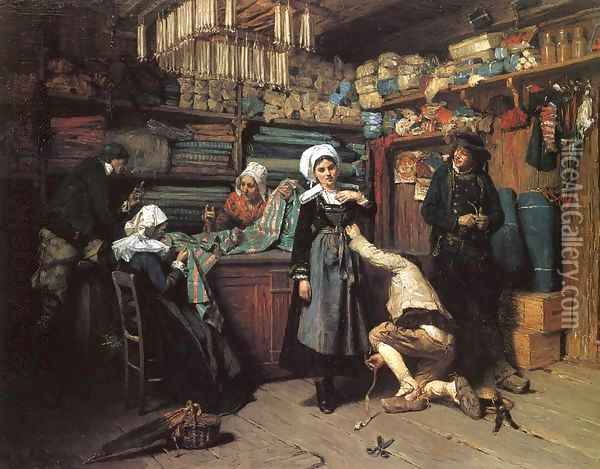 Buying the Wedding Trousseau Oil Painting - Henry Mosler