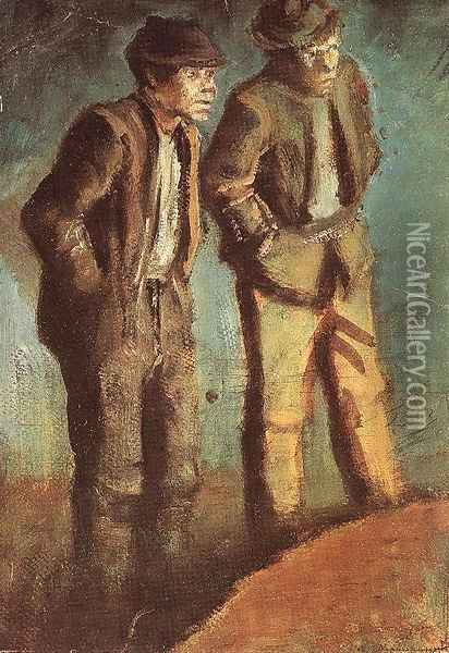 Two Tramps Prying c. 1910 Oil Painting - Laszlo Mednyanszky