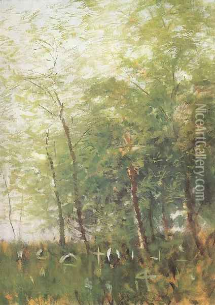 Edge of a Forest with Crosses Oil Painting - Laszlo Mednyanszky