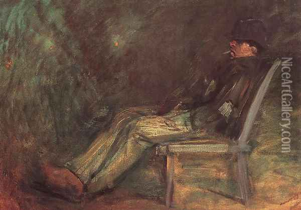 Tramp Seated on a Bench c. 1898 Oil Painting - Laszlo Mednyanszky
