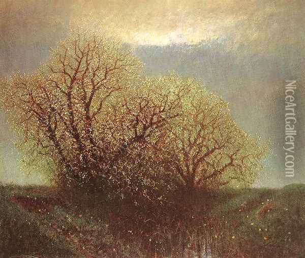 Blossoming Trees c. 1900 Oil Painting - Laszlo Mednyanszky