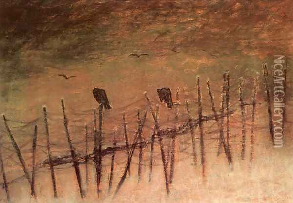 Before a Captured Russian Trench 1915 Oil Painting - Laszlo Mednyanszky