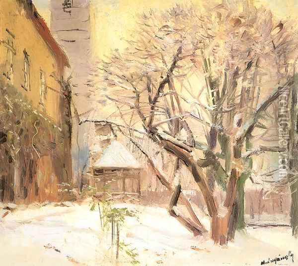 Courtyard in Winter after 1910 Oil Painting - Laszlo Mednyanszky