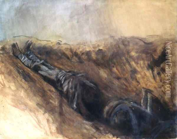 Trench with two Dead Soldiers Oil Painting - Laszlo Mednyanszky