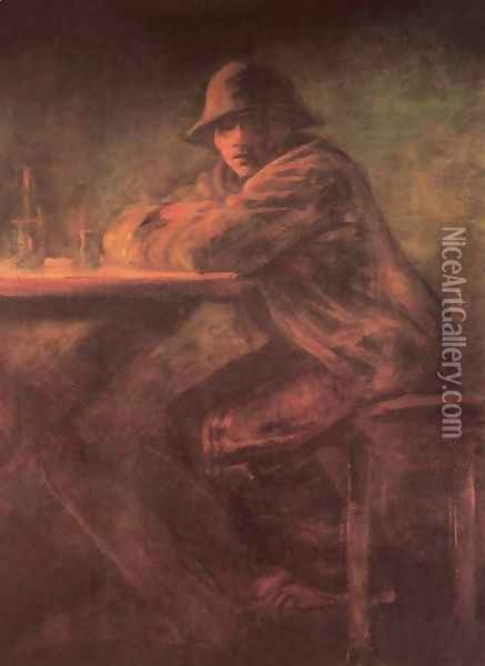 In the Tavern after 1898 Oil Painting - Laszlo Mednyanszky
