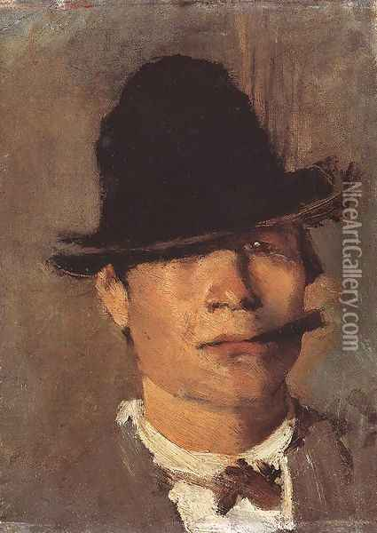 Tramp with Cigar c. 1900 Oil Painting - Laszlo Mednyanszky