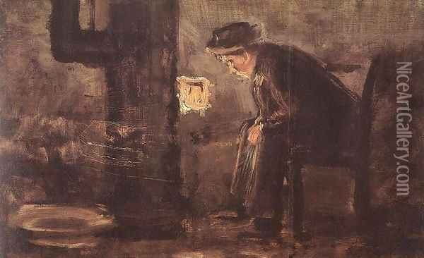 Man Seated by the Stove Oil Painting - Laszlo Mednyanszky