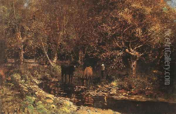 Osiery with Cows c. 1880 Oil Painting - Laszlo Mednyanszky