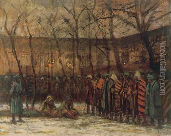 Soldiers Christmas 1914-18 Oil Painting - Laszlo Mednyanszky