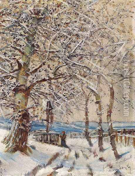 Trees with Hoar-frost c. 1892 Oil Painting - Laszlo Mednyanszky